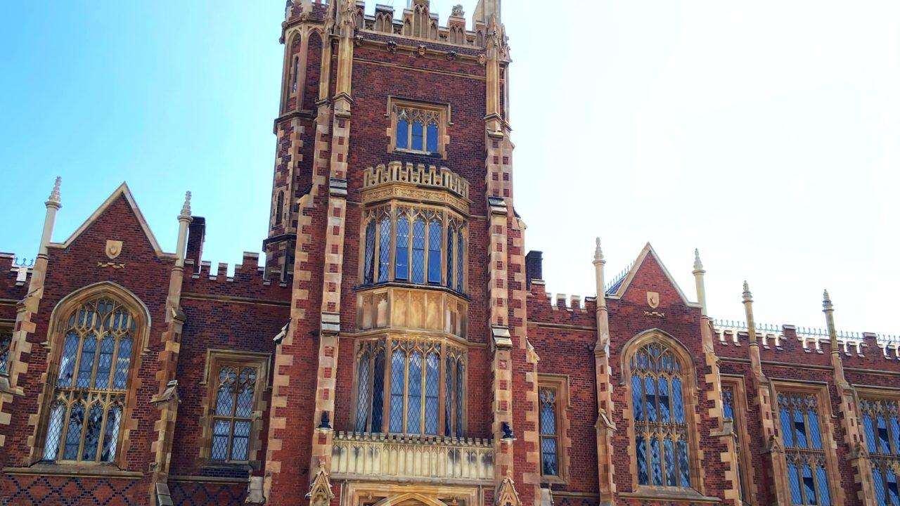 QUB Lanyon Building Against blue sky